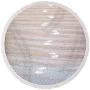 Night Beach Sand Footprints Round Beach Towel