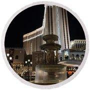 Night Glow At The Venetian Las Vegas Round Beach Towel