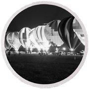 Night Glow Hot Air Balloons Bw Round Beach Towel
