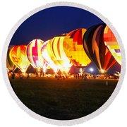 Night Glow Hot Air Balloons Round Beach Towel