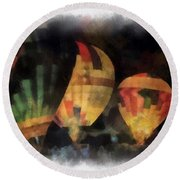 Night Glowing Hot Air Balloons Photo Art Round Beach Towel