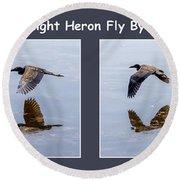 Night Heron Round Beach Towel
