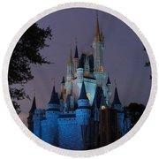 Night Illuminates Cinderella Castle Round Beach Towel