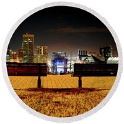 Night In The City Round Beach Towel