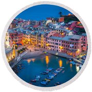 Night In Vernazza Round Beach Towel by Inge Johnsson