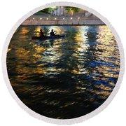 Night Kayak Ride Round Beach Towel by Margie Hurwich