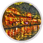 Night Life By The River Walk Round Beach Towel