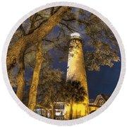 Night Lighthouse Round Beach Towel