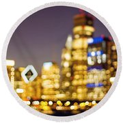 Night Lights - Abstract Chicago Skyline Round Beach Towel