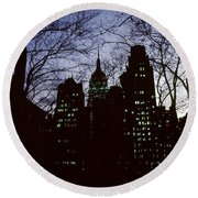 Night Lights Empire State Two Trees Round Beach Towel