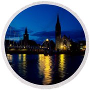 Night Lights In Inverness Round Beach Towel