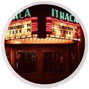 Night Lights Ithaca Theater Round Beach Towel