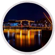 Night Lights On The Amsterdam Canals 1. Holland Round Beach Towel