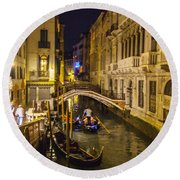 Night On The Canal - Venice - Italy Round Beach Towel