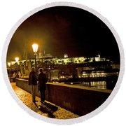 Night On The Charles Bridge Round Beach Towel