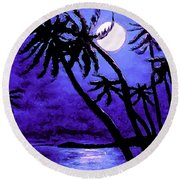 Night On The Islands Painterly Brushstrokes Round Beach Towel