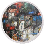 Night Over The Town Round Beach Towel