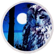 Night Owl Round Beach Towel