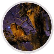Night Owls Round Beach Towel
