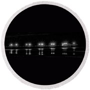 Night Pier Black And White Round Beach Towel