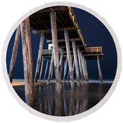 Night Pier Round Beach Towel