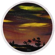 Night Scene Round Beach Towel