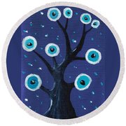Night Sentry Round Beach Towel