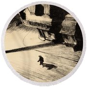 Night Shadows Round Beach Towel by Edward Hopper