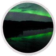 Night Sky Stars Clouds Northern Lights Mirrored Round Beach Towel