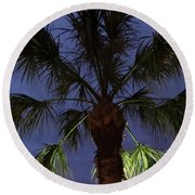 Night Sky Through The Palm Round Beach Towel