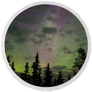 Night Sky With Northern Lights Display Round Beach Towel