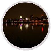 Night Skyline Harrisburg Pa Pink Lights Round Beach Towel