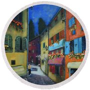 Night Street In Pula Round Beach Towel