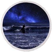Night Surfing Round Beach Towel