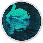 Night Swan L Round Beach Towel