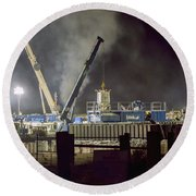 Night Time Frac Round Beach Towel
