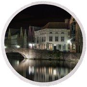 Night Time On The Canal Round Beach Towel