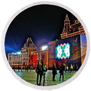 Night View Of Gum-former State Department Store-in Red Square In Moscow-russia Round Beach Towel