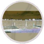 Night View Of Lafitte Bay Dauphin Island Alabama Round Beach Towel