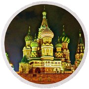 Night View Of Saint Basil Cathedral In Red Square In Moscow-russia Round Beach Towel