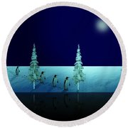 Night Walk Of The Penguins 2.5 Round Beach Towel