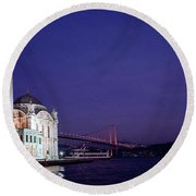 Nightfall Over Istanbul Round Beach Towel