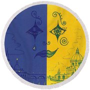 Nightime And Daytime In Venice Round Beach Towel