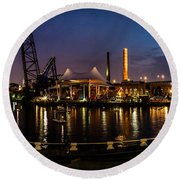 Nightlife In The Flats Round Beach Towel