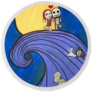 Nightmare Before Christmas Hill Cute Round Beach Towel