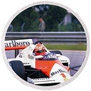 Niki Lauda. 1985 Portuguese Grand Prix Round Beach Towel