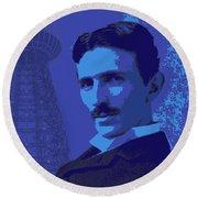 Nikola Tesla #2 Round Beach Towel