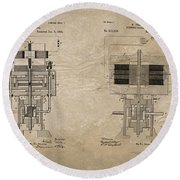 Nikola Tesla's Electrical Generator Patent 1894 Round Beach Towel