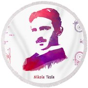 Nikola Tesla Patent Art Apparatus For Aerial Transportation  Round Beach Towel