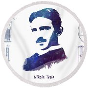 Nikola Tesla Patent Art Electric Arc Lamp Round Beach Towel